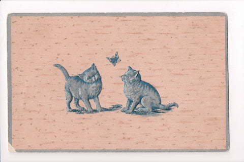 Animal - Cat or cats postcard - blue, silver with butterfly - A06757