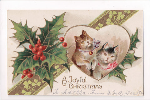 Animal - Cat or cats postcard - Christmas, cat with bell, ribbon - A06775