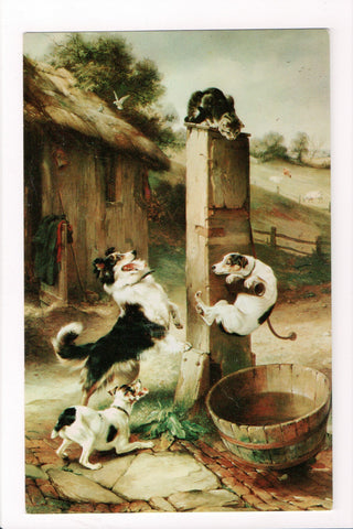 Animal - Cat or cats postcard - dogs trying to get cat on pole - A06786