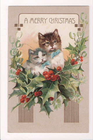 Animal - Cat or cats postcard - A MERRY CHRISTMAS - kittens with bows - B05070