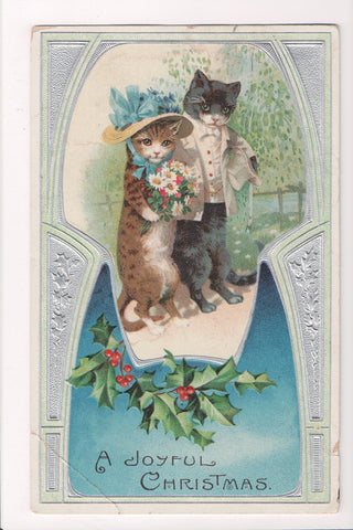 Animal - Cat or cats postcard - Anthromorphic, top coat, hat etc - C17078