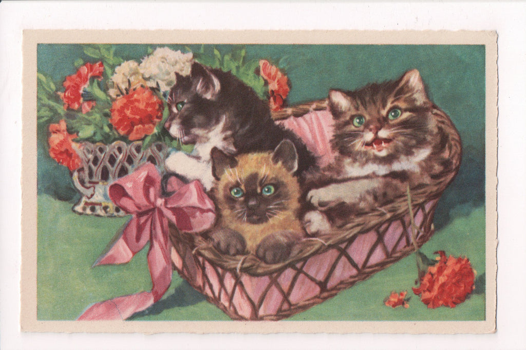 Animal - Cat or cats postcard - kittens in a pink basket - D07075