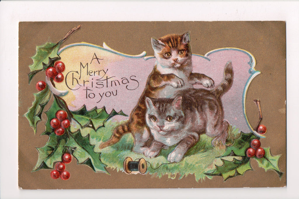 Animal - Cat or cats postcard - Xmas Cats Series, playing with spool - J04144