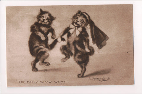 Animal - Cat or cats postcard - Anthromorphic, dancing - @1909 - S01797