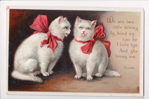 Animal - Cat or cats postcard - 2 white cats, ribbons, bows - Clivett - SH7363