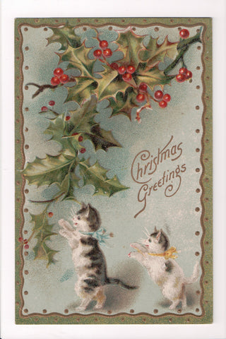 Animal - Cat or cats postcard - 2 kittens - walking on 2 legs, holly - @1909 - S