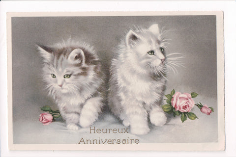 Animal - Cat or cats postcard - 2 gray kittens, pink roses - SH7368