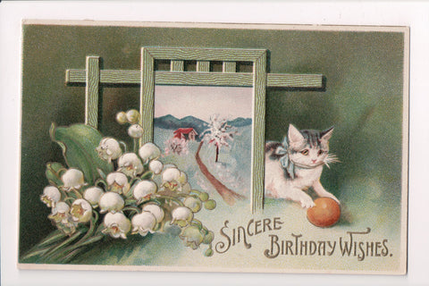 Animal - Cat or cats postcard - Birthday Wishes - Meissner and Buch - SH7376