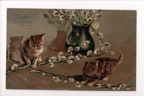 Animal - Cat or cats postcard - 2 tiger kittens with some pussy willows - SH7380
