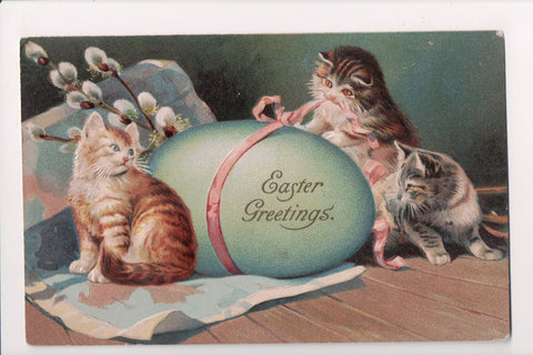 Animal - Cat or cats postcard - Easter Egg with kittens, pussywillows - SL2647