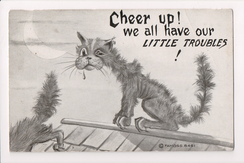 Animal - Cat or cats postcard - Cheer up!! F A Moss postcard - VT0026