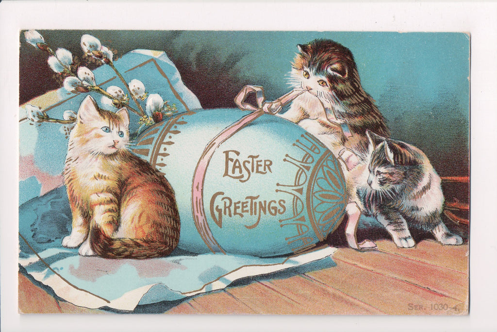 Animal - Cat or cats postcard - Easter Egg with kittens, gold embellishments - w