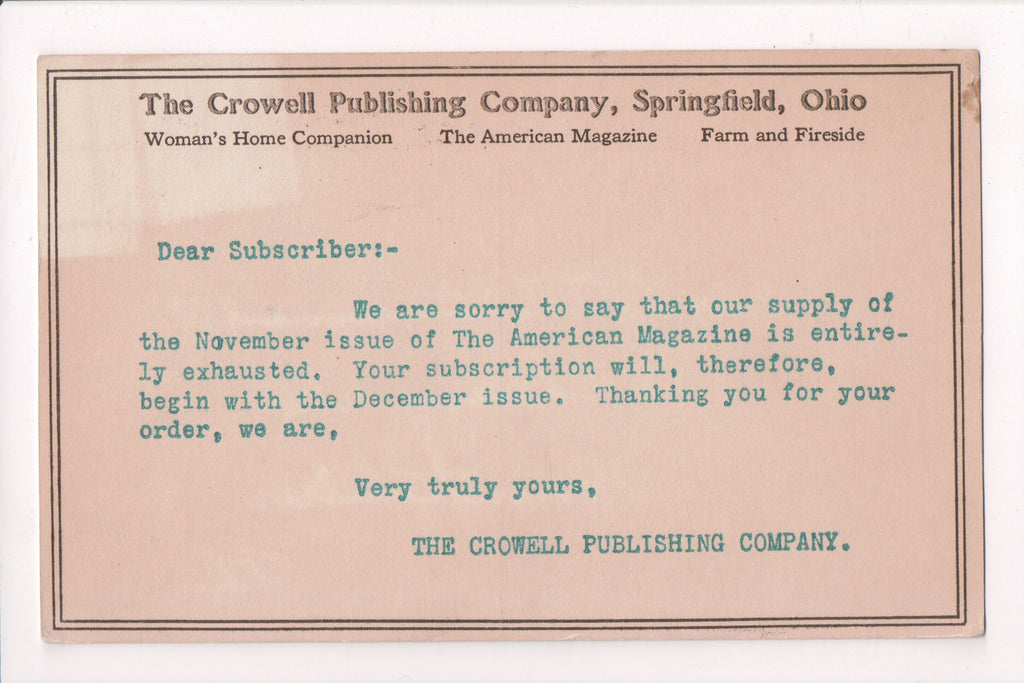 OH, Springfield - CROWELL PUBLISHING CO advertisement postcard - D05494
