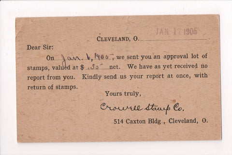 OH, Cleveland - CROWELL STAMP Co - Advertisement card requesting return - 400014