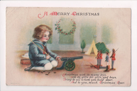 Xmas - A Merry Christmas - boy, canon, soldiers - Clapsaddle? - D04347