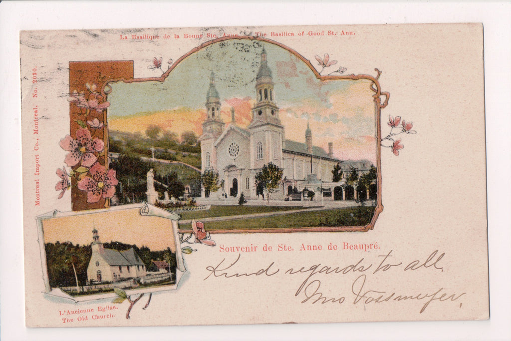 Canada - Ste Anne de Beaupre - old, new church - 1905 postcard - D05270