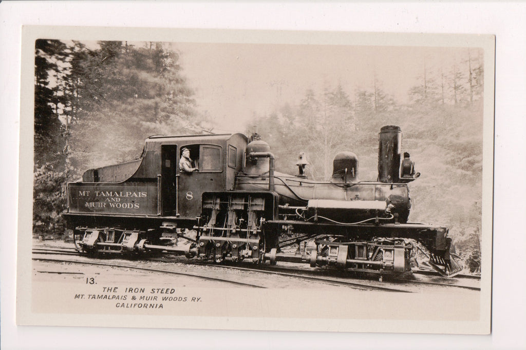 Train - Railroad Engine #8 - Mt Tamalpais and Muir Woods RY - RPPC - D05548