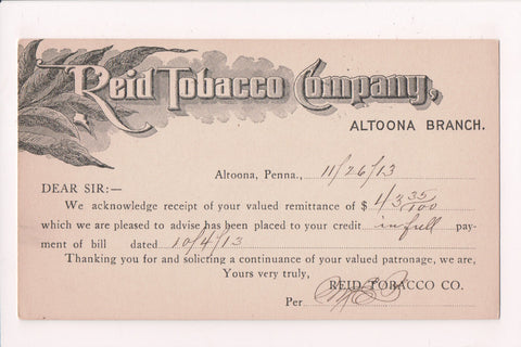 PA, Altoona - Reid Tobacco Co Advertising / Correspondence - D17434
