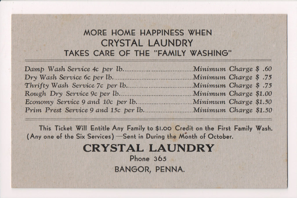 PA, Bangor - Crystal Laundry Advertising card w/prices - D17445