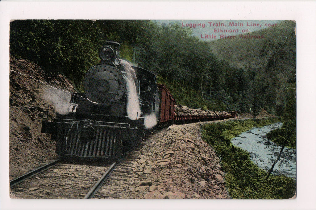 Train - Railroad Engine, log hauling on Little River RR postcard - D18050