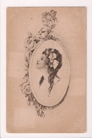 People - Female postcard - Pretty Woman - Sepia - Wendt or Wendy - E03104