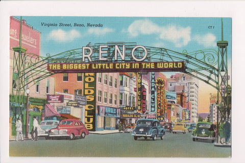 NV, Reno - Virginia Street - signs - metal arch postcard - E04088