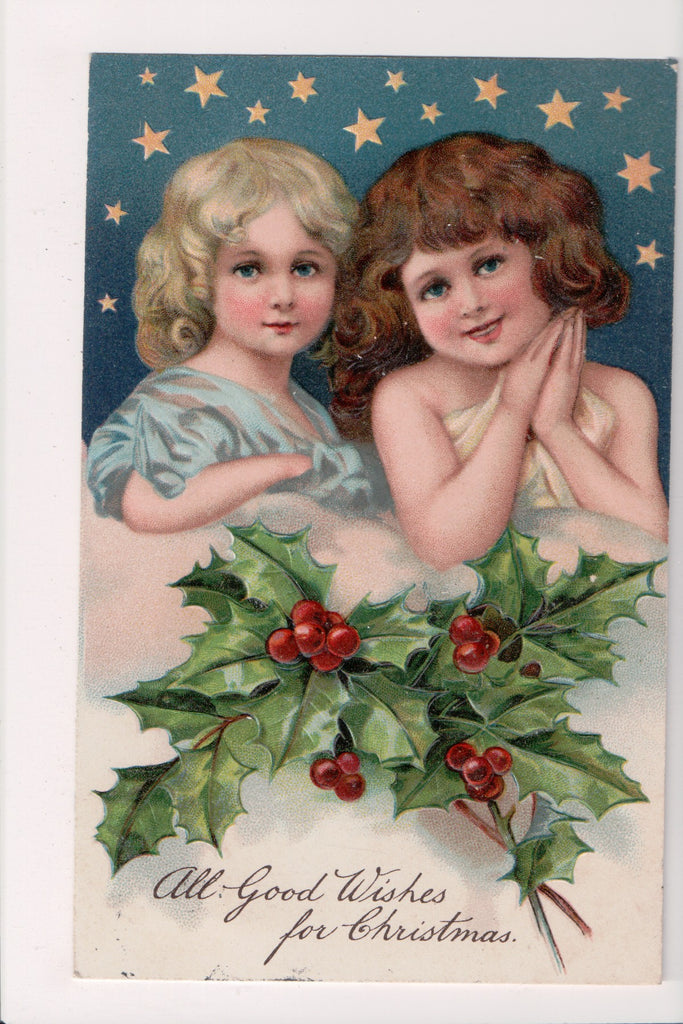 Xmas postcard - Christmas - 2 Cute Girls from chest up - E10302