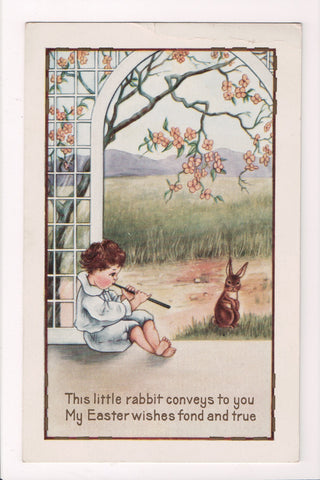 Easter - boy playing flute to rabbit - Whitney Made - E10341