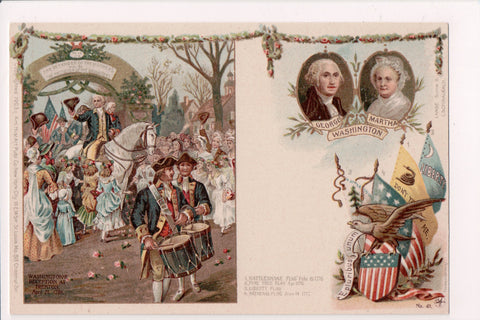 Postcard - Patriotic - showing Washingtons reception, flags, drummers - EP0122