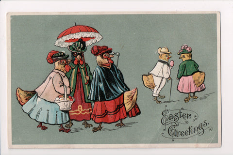 Easter - Anthropomorphic, dressed, fantasy, chicks upright postcard - 800308