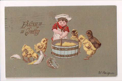 Easter - boy in cooks hat, apron - chicks looking in barrel, Langner card - A060