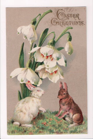 Easter - 2 Rabbits under some white snow drop flowers postcard - C-0105