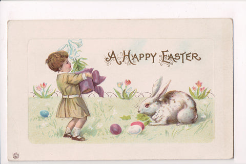 Easter - Boy with lily plant in hands postcard - C-0151