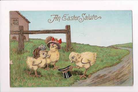 Easter - Anthropomorphic, fantasy, chicks upright, top hat, gilt postcard - C042