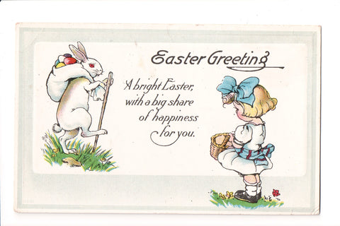 Easter - Anthropomorphic, fantasy bunny with sack and stick postcard - C06005