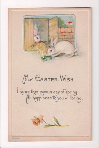 Easter - 2 white bunny rabbits - My Easter Wish postcard - C06430