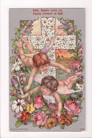 Easter - 2 bare butted little angels in front of cross of flowers - C17156