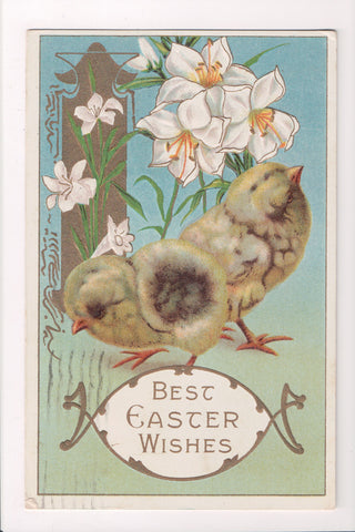 Easter - 2 chicks with some white lily flowers - Samson Bros - C17172