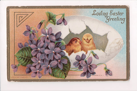 Easter - 2 chicks in an open shell, purple flowers - #283 on postcard - C17343