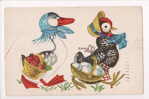 Easter - Anthropomorphic, fantasy dressed, upright ducks postcard - CP0625