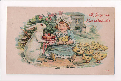 Easter - Anthropomorphic, fantasy upright bunny offering eggs postcard - CP0655