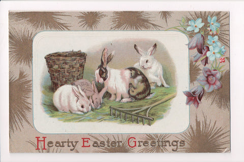 Easter - 4 rabbits near wooden rake and basket postcard - E03077