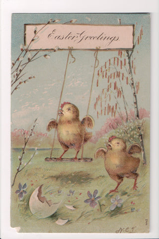 Easter - Anthropomorphic, fantasy, chicks on swing postcard - E09101