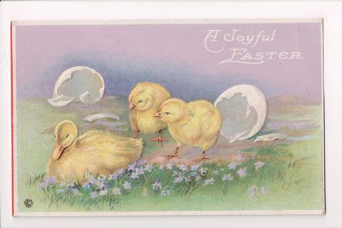 Easter - 2 chicks sneaking up on a duck, @1920 postcard - E10340