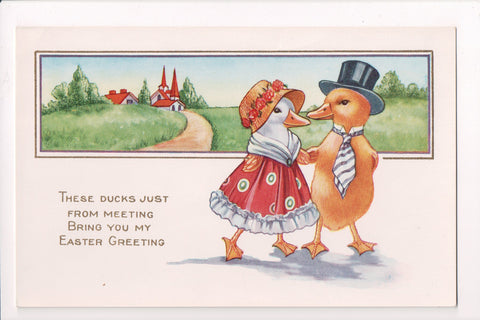 Easter - Anthropomorphic, fantasy dressed, upright ducks postcard - JJ0750
