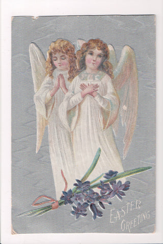 Easter - 2 large angels with gold tinged wings postcard - M-0316