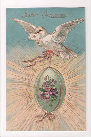 Easter - White Dove with envelope and egg, gold gilt postcard - SL2048