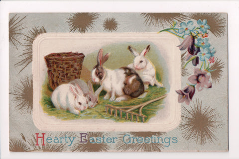 Easter - 4 rabbits near wooden rake and basket postcard - SL2050