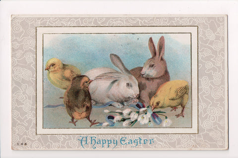 Easter - bunnies and chicks together postcard - SL2066