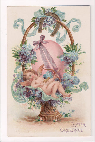 Easter - bare angel laying in a basket with bow and arrow, big egg - SL2181